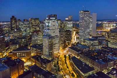 Boston Skyline At Night From The Sw Art Print