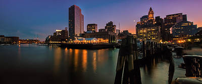 Photograph - Boston Skyline At Twilight by Expressive Landscapes Fine Art Photography by Thom