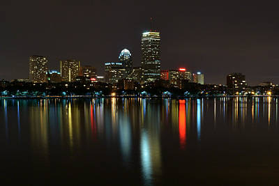 Boston Skyline By Night Art Print