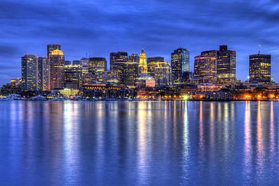 Boston Photograph - Boston Skyline By Night by Joann Vitali