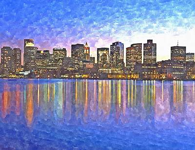 Boston Light Painting - Boston Skyline By Night by Rachel Niedermayer