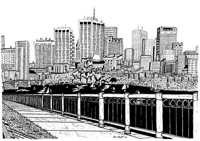 Boston Skyline Hatch Shell Art Print by Conor Plunkett