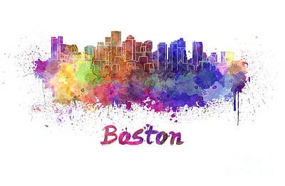 Boston Landmark Painting - Boston Skyline In Watercolor by Pablo Romero