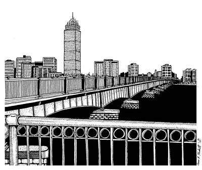 Boston Ma Drawing - Boston Skyline Mass Ave by Conor Plunkett