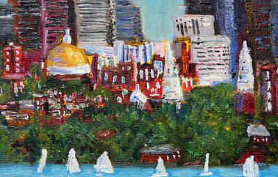 Boston Skyline Art Print by Michael Helfen