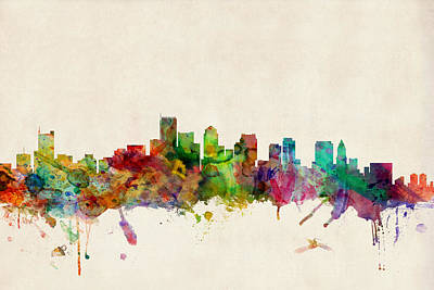 Watercolor Digital Art - Boston Skyline by Michael Tompsett