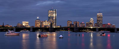 Boston Skyline Panoramic - Blue Nights Art Print