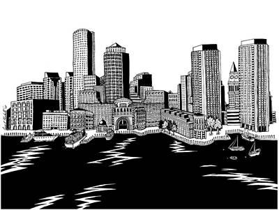 Boston Ma Drawing - Boston Skyline Rowes Wharf by Conor Plunkett
