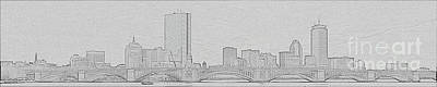Boston Skyline Stencil Art Print by Meandering Photography