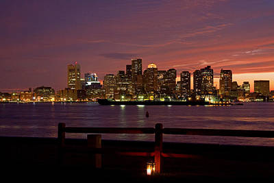 Photograph - Boston Skyline Sunset by Jeff Folger
