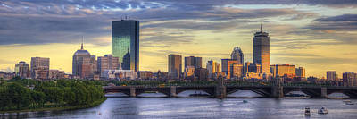 Historic Bridge Photograph - Boston Skyline Sunset Over Back Bay Panoramic by Joann Vitali