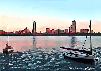Boston Painting - Boston Sunset On The Charles by Michael Hodgson