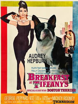 Boston Painting - Boston Terrier Art - Breakfast At Tiffany Movie Poster by Sandra Sij