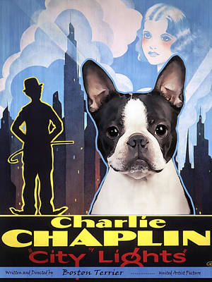 Boston Light Painting - Boston Terrier Art - City Light Movie Poster by Sandra Sij