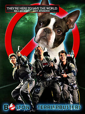 Boston Terrier Painting - Boston Terrier Art Canvas Print - Ghostbusters Movie Poster by Sandra Sij