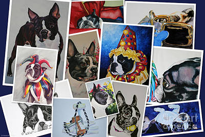 Painting - Boston Terrier Art Collage by Susan Herber