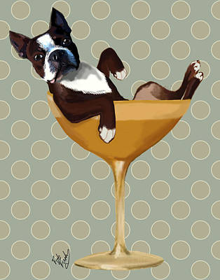 Glass Wall Digital Art - Boston Terrier Cocktail Glass by Kelly McLaughlan