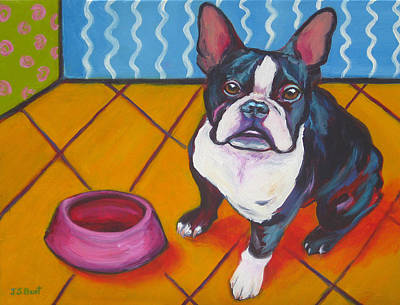 Painting - Boston Terrier - It's Time by Janet Burt