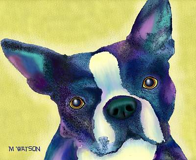 Digital Art - Boston Terrier by Marlene Watson