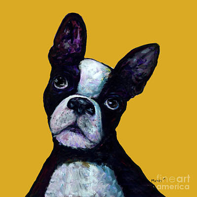 Boston Terrier On Yellow Art Print