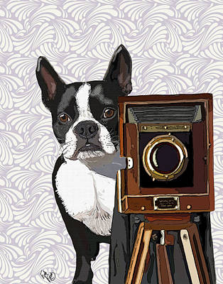Boston Terrier Photographer Look Doggie Art Print by Kelly McLaughlan