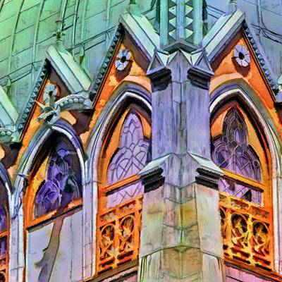 Painting - Boston Trinity Church Arches - Square by Lyn Voytershark