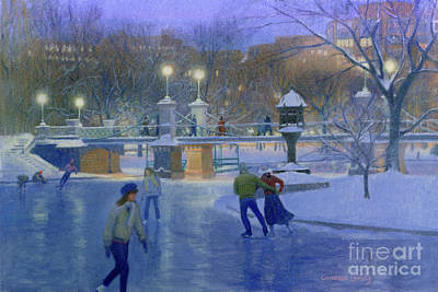 Public Holiday Painting - Boston Twilight Skaters by Candace Lovely