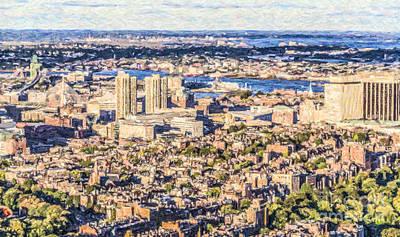 Digital Art - Boston Usa Elevated View by Liz Leyden
