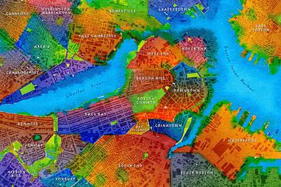 Red Sox Digital Art - Boston Watercolor Map by Paul Hein