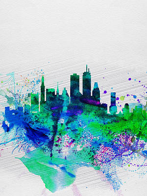 Boston Skyline Panoramic Painting - Boston Watercolor Skyline by Naxart Studio