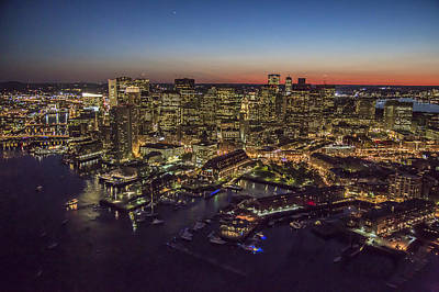 Photograph - Boston Waterfront At Night. by Dave Cleaveland