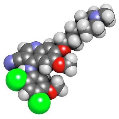 Chemical Photograph - Bosutinib Leukemia Drug Molecule by Molekuul