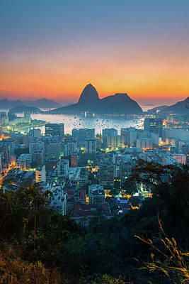 Botafogo Bay With Sugar Loaf At Sunrise Art Print by Flavio Veloso