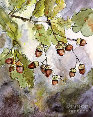 Botanical Acorns And Oak Leaves Art Print