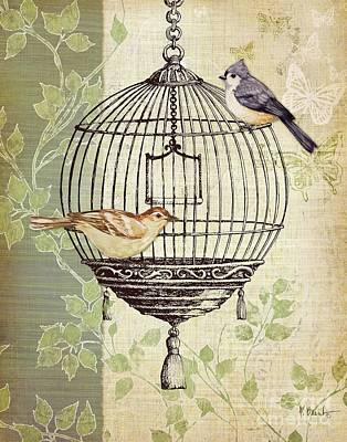 Birdcage Painting - Botanical Birdcage I by Paul Brent