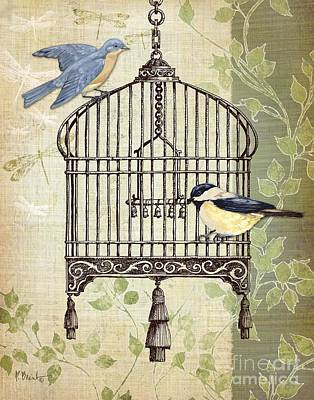 Birdcage Painting - Botanical Birdcage II by Paul Brent