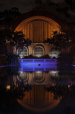 Photograph - Botanical Building Reflection At Night by Lee Kirchhevel