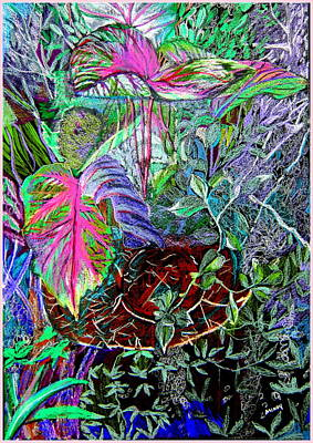 Colored Pencil Landscape Drawings Drawing - Botanical Garden by Mindy Newman