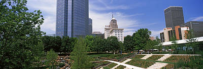 Oklahoma Photograph - Botanical Garden With Skyscrapers by Panoramic Images