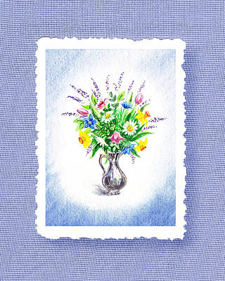 Room Decorating Painting - Botanical Impressionism Watercolor Bouquet by Irina Sztukowski