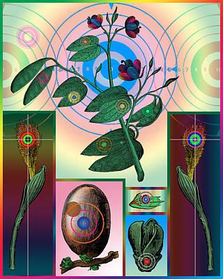 Montage Digital Art - Botanical Targets by Eric Edelman