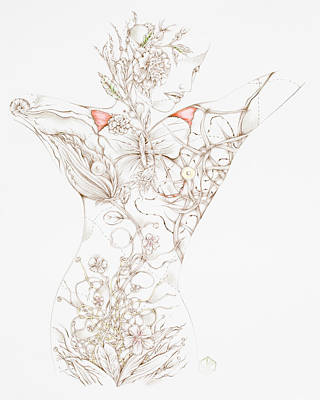 Drawing - Botanicalia Cassandra-sold by Karen Robey