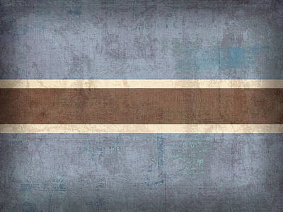 Africa Mixed Media - Botswana Flag Vintage Distressed Finish by Design Turnpike