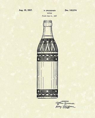 Bottle 1937 Patent Art Art Print by Prior Art Design
