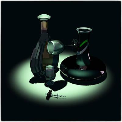 Decanters Digital Art - Bottle And Carafe by Andrei SKY