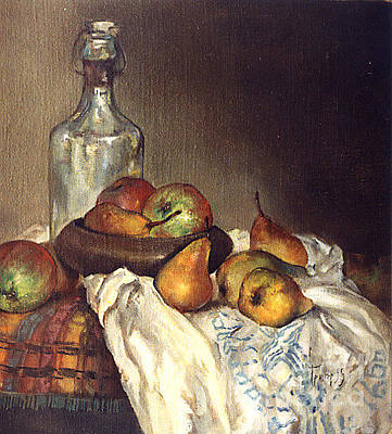 Painting - Bottle And Pears by Grigor Malinov