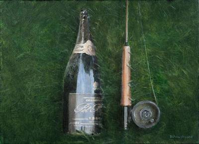 Champagne Photograph - Bottle And Rob II, 2012 Acrylic On Canvas by Lincoln Seligman