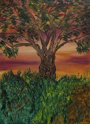Painting - Bottle Brush Tree At Sunset by James Bryron Love