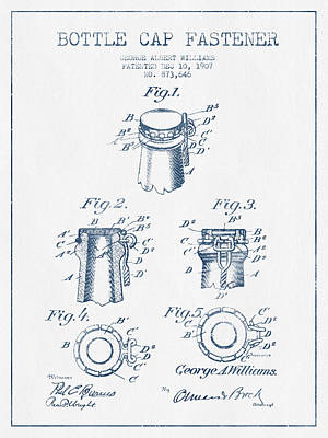 Beer Royalty-Free and Rights-Managed Images - Bottle Cap Fastener Patent Drawing from 1907  - Blue Ink by Aged Pixel