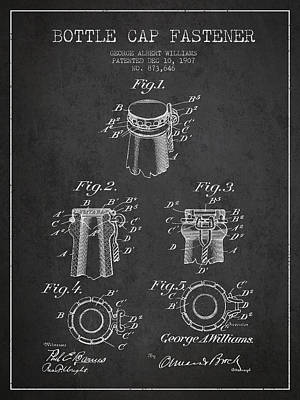 Bottle Cap Digital Art - Bottle Cap Fastener Patent Drawing From 1907 - Dark by Aged Pixel